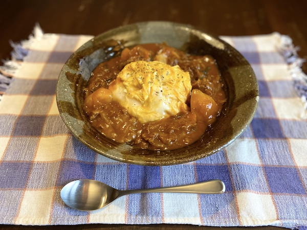土鍋でご飯(オムハヤシ)